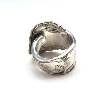 Jewelry - Vintage floral silver plate spoon ring size 8